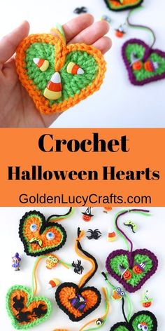 Make these cute and easy Halloween decorations – crochet Halloween Hearts! You can hang them around the house or use them as Halloween tree ornaments. Thanksgiving Crochet, Crochet Fall, All Free Crochet, Holiday Crochet, Crochet Gifts, Cute Crochet, Crochet Motif, Crochet Hearts, Crochet Angels
