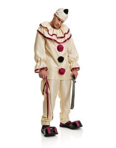 Red White Horror Killer Clown Suit Adult Halloween Costume #Charades