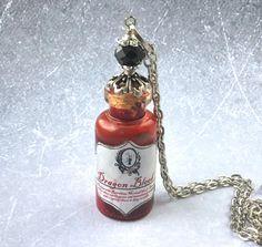 Dragons Blood Potion Glass Vial Bottle Pendant by AdornaJewellery