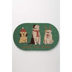 Anthropologie Holiday Pups Doormat ($42) ❤ liked on Polyvore featuring home, outdoors, outdoor decor, holly, anthropologie, outdoor holiday decor, holiday outdoor mats, holiday doormats and holiday welcome mats
