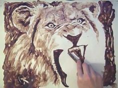 I just saw this and a was amazed.  i wish i was that talented.     CHOCOLATE SYRUP PAINTING - Lion