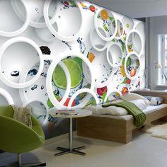 Custom Modern Minimalist Mural Photo Wallpaper White Ring Cycle Fruits Wall Mural Abstract Art Wall Paper Bedroom Wall Decor