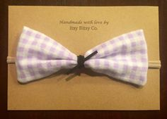 Everly purple checkered large bow girl bow baby bow by ItsyBitsyCo
