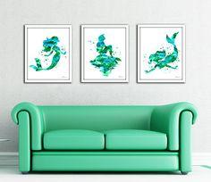 Blue green mermaid print set Mermaid watercolor print Ariel