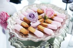 Madeleine OR Other Cookies = DIPPED into PINK Frosting + Served on a Silver Serving Tray + DECORATED with Pastel Roses (Pink and Lavender)!