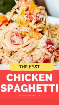 Best Chicken Spaghetti Recipe, Chicken Pasta Recipes, Beef Recipes, Chicken Pasta Easy, Cheap Pasta Recipes, Buffalo Chicken Pasta, Chicken Eating, Chicken, Bon Appetit