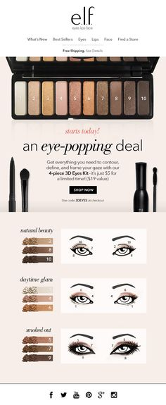 Get everything you need to contour, define and frame your gaze with this 4-piece kit, just $5 (a $19 value!)  CLIENT: e.l.f. Cosmetics Built by: Mark Nayve   SellUP