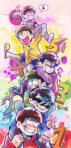 Osomatsu, Karamatsu, Choromatsu, Ichimatsu, Jyushimatsu, Todomatsu