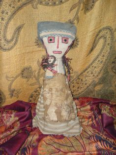 "Peruvian Chancay Doll Pre-Columbian Burial Doll 18"" RARE Large size Mummy Doll with Child Pre-Columbian Textiles"