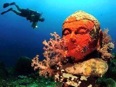 5000+ yr old underwater Hindu temple  in Indonesia.