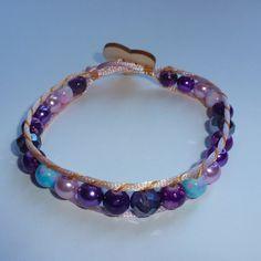 Lilac, pink and purple wrap bracelet £8.00