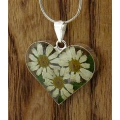 Heart Daisy Flower Silver Pendant (Large) | Handmade Mexican jewellery from Silver Bubble http://silverbubble.co.uk/daisy-heart-flower-silver-pendant-small