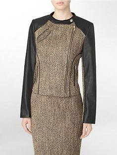 textured tweed faux leather trim suit jacket