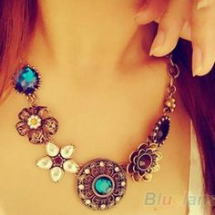 Cheap necklace black, Buy Quality necklace men directly from China necklace silicone Suppliers: Retro Vintage European Style Gorgeous Austria Turquoise Crystal Flowers Bib Statement Necklace for Wedding Party Fashion Jewelry Necklaces, Tribal Jewelry, Charm Jewelry, Fashion Necklace, Women Jewelry, Jewelry Accessories, Fashion Jewellery, Jewelry Watches, Collar Redondo