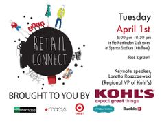 Tuesday, April 1. 6 p.m.   Come to Retail Connect and you are guaranteed at least one interview the day following! Apple Stores has also just confirmed their attendance!