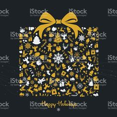 Golden christmas gift box with symbols royalty free vector illustration