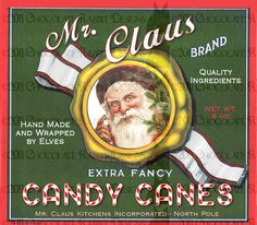 Vintage Christmas Santa Candy Label Digital Download Printable