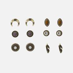 Ensemble 6 boucles d'oreilles dorées antiques