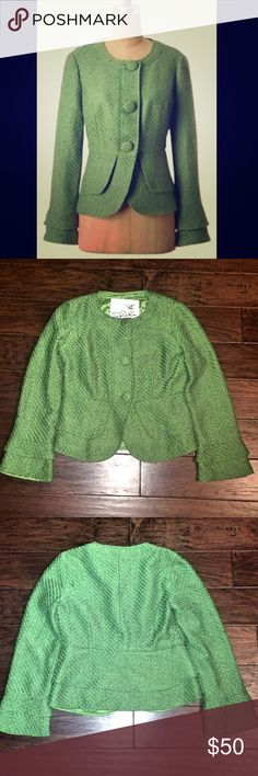 ANTHROPOLOGIE GREEN JACKET Beautiful Anthropologie greed tweed jacket - Tabitha brand - in excellent condition! Fabric-covered buttons, layered cuff and layered back provide a peplum look. Works well with slacks and jeans! Anthropologie Jackets & Coats