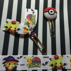 Pokemon has arrived to ImpalaGirlTrendz!! Dressed for Halloween with his Pokeball! Planner clips paper clips Kikki K Happy planner, ECLP Erin Condren FILO