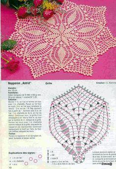 Diagrams of crochet napkins photo Crochet Doily Diagram, Crochet Motifs, Thread Crochet, Filet Crochet, Crochet Stitches, Crochet Crown, Crochet Dollies, Crochet For Boys, Crochet Home
