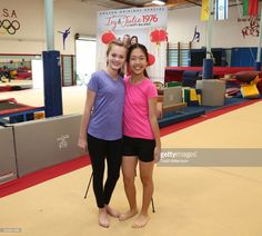 Hannah Nordberg and Nina Lu attend an Amazon Original Special 'An American Girl Story - Ivy & Julie 1976: A Happy Balance' Photo Call with Nina Lu, Hannah Nordberg and Olympic Medalist Laurie Hernandez at Los Angeles School of Gymnastics on March 20, 2017 in Los Angeles, California.