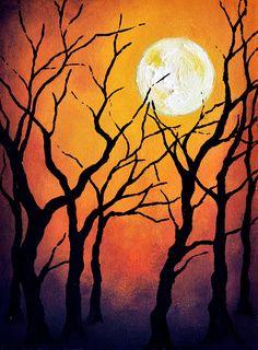 "HALLOWEEN Original Abstract Painting 9x7"" halloween art decor"