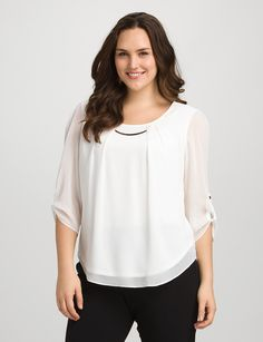 Plus Size | Tops | Shirts & Blouses | Plus Size Pleated Tab-Sleeve Top