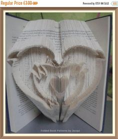 Spring Sale Dolphin Heart. Book Folding Pattern. by JHBookFoldPatterns on Etsy