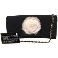 Preowned Chanel Black And White Quilted Silk And Nylon Camellia Flower... (23,205 MXN) ❤ liked on Polyvore featuring bags, handbags, clutches, white, white clutches, quilted purses, quilted nylon handbags, quilted handbags and white handbag