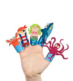 Fantastic Sea Story Paper Finger Puppets - PRINTABLE PDF Toy - DIY Craft Kit Paper Toy - Birthday Party Favor