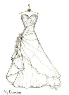 Personal Wedding Dress Sketch | Anniversary Gift | Wedding Gift | Wedding Day…