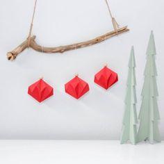 Origami Christmas, Red, Diamond