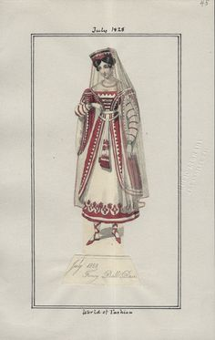 "1828-07 Fancy Ball Dress from ""World of Fashion"" via Los Angeles Public Library 