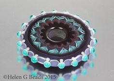 Purple and Teal Lampwork Disc Bead by Helen Gorick by helengbeads