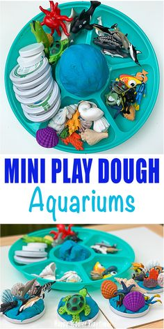 Mini Play Dough Aquariums - HAPPY TODDLER PLAYTIME Set up this fun play dough invitation and create mini aquariums with your toddler and preschooler. Its a great way to explore under the sea creatures! Playdough Activities, Infant Activities, Craft Activities, Creative Activities, Indoor Activities, Preschool Crafts, Mini Aquarium, Play Based Learning, Toddler Preschool