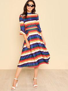Button Up Front Flounce Sleeve Striped Dress -SheIn(Sheinside)