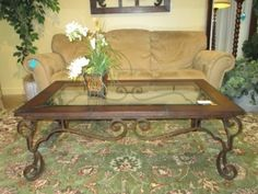Leather/Glass/Metal Coffee Table
