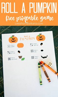 Free printable Halloween pumpkin game- a fun drawing game for halloween classroom parties or family night. #halloweengame #rollapumpkingame #halloweenprintable #creationsbykara #halloweenpartygame