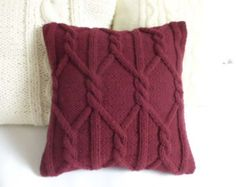 Blue Slate Hand Knit Pillow Case Throw Pillow by Adorablewares