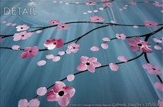 Pintura Original arte paisaje árbol asiático flor Zen por