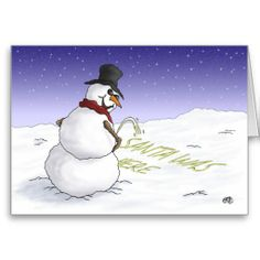 Shop Funny Christmas Cards: Santa was here Holiday Card created by nopolymon. Funny Christmas Cards, Christmas Humor, Holiday Cards, Funny Snowman, A Cartoon, Snowball, A Funny, Disney Characters, Fictional Characters