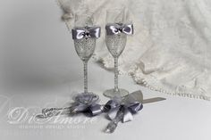 LACE Silver Wedding Set / 2 wedding glasses & Cake by DiAmoreDS