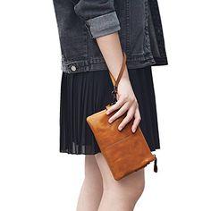 Jack&Chris Women's Small Leather Wristlet Wallets Clutch Handbag Shoulder Bag Purse, (Brown) Striped Fabrics, Wristlet Wallet, Leather Clutch, Leather Bags, Clutch Purse, Wallets For Women, Purses And Bags, Women's Bags, Retro Fashion