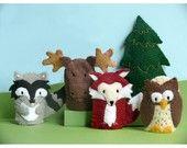 Woodland Animal Pair - Hedgehog and Fox Finger Puppets. $15.00, via Etsy.