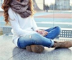 laced up boots and forever scarf