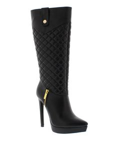 Another great find on #zulily! Black Quilted Kerry Boot #zulilyfinds