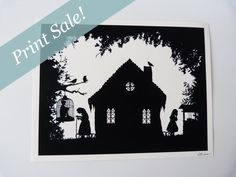 Vente : A4 Hansel et Gretel Gingerbread House Silhouette féerique giclée Print 11,7 « x 8,3 » frères Grimm contes populaires noir blanc Poster Art
