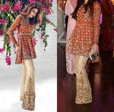 Latest Pakistani Short Frocks Peplum Tops Styles & Designs Collection consists of trends & styling of short frocks with bell bottoms, shararas, etc Pakistani Formal Dresses, Pakistani Dress Design, Pakistani Designers, Pakistani Outfits, Indian Dresses, Indian Outfits, Pakistani Clothing, Short Frocks, Pakistani Couture