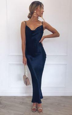 1fee9ca909 Keisha Slip Midi Dress - NAVY by Pretty Lavish Silk Satin, Satin Slip, Satin